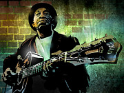 African Prints Paintings - Mississippi John Hurt by Paul Sachtleben