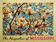 Mississippi Flowers Framed Prints - Mississippi Magnolias Framed Print by Vintage Poster Designs