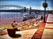 Walkway Mixed Media - Mississippi Riverboat Dubuque IA by Phyllis Kaltenbach