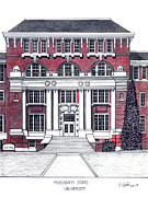 Pen And Ink Framed Prints Art - Mississippi State University by Frederic Kohli