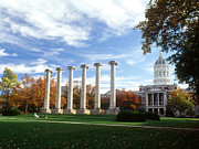 Hall Photo Prints - Missouri Columns and Jesse Hall Print by University of Missouri