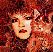 Domestic Pets Mixed Media - Missy and I by Natalie Holland