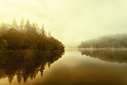 Colour Acrylic Prints - Mist across the water Loch Ard Acrylic Print by John Farnan
