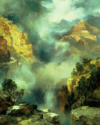Canyon Painting Framed Prints - Mist in the Canyon Framed Print by Thomas Moran