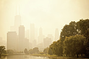 Nature Center Pond Prints - Mist over Downtown Chicago Print by Andria Patino