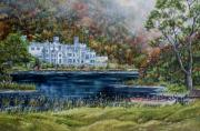 Nuns Painting Prints - Mist over Kylemore Abbey Print by Avril Brand