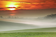 Sun In Cloud Prints - Mist Over Landscape Of Rolling Hills Print by Andy Freer
