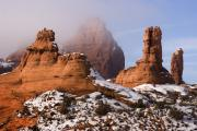 Slickrock Prints - Mist Rising in Arches National Park Print by Utah Images
