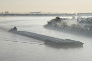 Mist Shrouded River And Tugboat Print by Jeremy Woodhouse