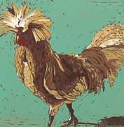 Mister Fowler - Linocut Print Print by Annie Laurie