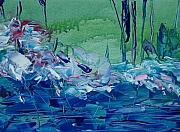 Blues Painting Originals - Mistery Pond by Geraldine Liquidano