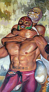 Nude Men Wrestling Art - Mistico vs Rey Misterio by Nancy Almazan