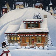 Christmas Village Posters - Mistletoe Cottage Poster by Catherine Holman