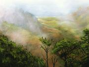 Lookout Painting Prints - Mists of Kalalau Print by Sandra Blazel - Printscapes