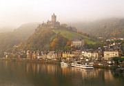 People Ferry Posters - Misty Autumn At Cochem And The River Moselle Poster by Brian Lawrence