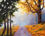Autumn Prints Posters - Misty Autumn Painting Poster by Graham Gercken