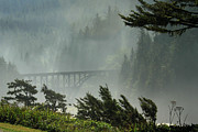 Misty Bridge Posters - Misty Bridge at Heceta Head Poster by James Eddy