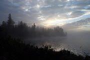 Misty Dawn On Boot Lake Print by Larry Ricker