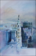 Philadelphia Painting Prints - Misty Day at Philadelphia City Hall Print by Peg Ott Mcguckin