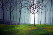 Lanscape Paintings - Misty Forest by Alban Dizdari
