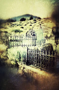 Haunted Hills Posters - Misty Graves in the Hills Poster by Jill Battaglia