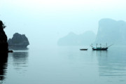 Ha Long Posters - Misty Ha Long Bay Vn Poster by Chuck Kuhn