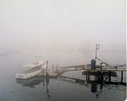 Foggy Day Digital Art Prints - Misty Harbor Rye Beach Print by Anthony Ross