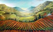 Pastoral Vineyard Painting Posters - Misty Hills Poster by Barbara Wilson