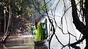 Art Of The Mystic Prints - Misty Lake Lady Print by Kantilal Patel