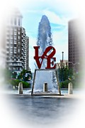 Love Park Prints - Misty Love Print by Paul Ward