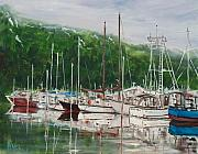 Fishing Boats Originals - Misty Marina II by Pete Maier