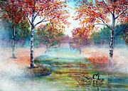Kinkade Framed Prints - Misty Morning Framed Print by Ann Marie Bone