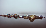 Lakescape Tapestries Textiles - Misty Morning Boat Dock by Ari Salmela
