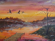 Canadian Geese Paintings - Misty Morning Flight by Wendy Smith