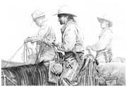 Cowboy Sketches Prints - Misty Morning Print by Jack Schilder