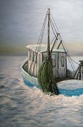 Trawler Painting Posters - Misty Morning Poster by JoAnn Wheeler
