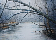 Patsy Sharpe Painting Metal Prints - Misty Morning on the Red River Metal Print by Patsy Sharpe