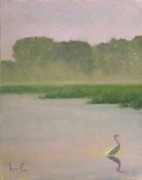 Marsh Scene Paintings - Misty Morning by Perry Ashe