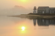 New England Lighthouse Prints - Misty Morning Print by Roupen  Baker