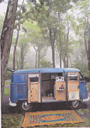 Volkswagen Pastels Prints - misty Morning Print by Sharon Poulton