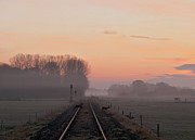 Urban Farm Posters - Misty Morning Sunrise By Single Railway Track Poster by Simon Stanley