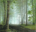 Landscape Drawings - Misty Morning Visitor by Carla Kurt