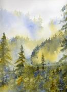 Smokey Mountains Paintings - Misty Mountain Morning by Lisa Bell