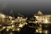 Bamboo House Posters - Misty NightShot at Bamboo FLoating Huts Poster by Tonny Ernawan