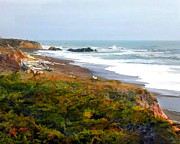Cambria Paintings - Misty Ocean Shoreline by Elaine Plesser