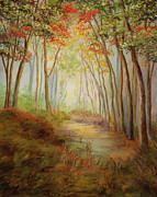 Vic Mastis Painting Metal Prints - Misty Path Metal Print by Vic  Mastis