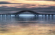 Misty Bridge Posters - Misty Reflective Sunrise Poster by Vicki Jauron