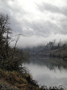 Misty River Drive Along The Umpqua Print by Alison Foster