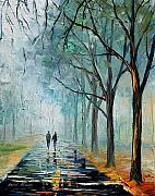 City Park Painting Originals - Misty Stroll by Leonid Afremov