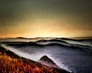 Art Prints Prints - Misty Sunrise Print by Arne Hansen